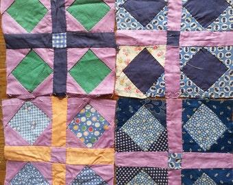 Quilting Squares (4) - Cotton TINY CALICO Group 2 - Feed Sack Flour Sack Indigo Blue Fabrics - 1910-1930's