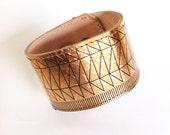 Wearable Technology / Fitbit Flex Leather Cuff / Bracelet 4 Fitbit Charge HR / Rose Gold Black Lines Leather Vivofit / Misfit Shine Cuff