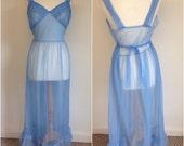 REDUCED Sheer Sky Blue Chiffon Vintage Night dress