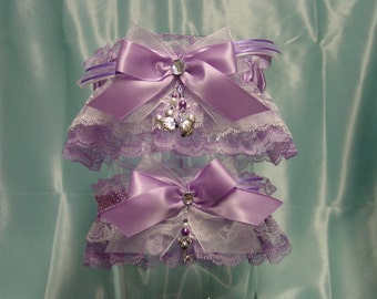 Lavender and White Disney Inspired Mickey & Minnie Mouse Wedding Garter Set