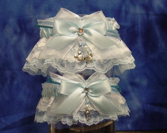 Blue Disney Mickey & Minnie Mouse Wedding Garter Set