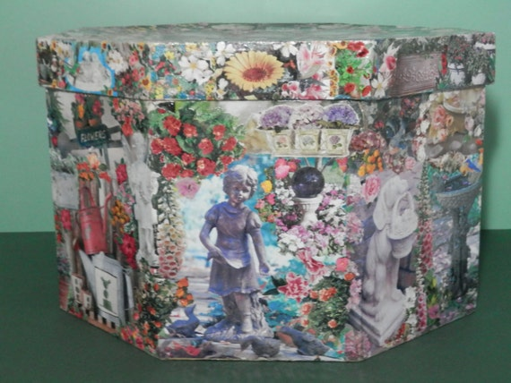 Extra Large Decoupage Octagon Paper Mache Box Keepsake Flower Garden Motif Collage Storage Organizer Decorator Original Design One Kind Gift