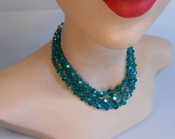 To the Green of Her Eyes - Vintage 1950s Dark Emerald Green Aurora Borealis Cut Crystal 3 Strand Necklace