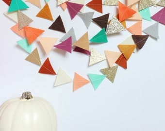 autumn garland (felt and glitter triangles)-3 color options