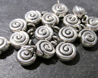 Silver Spiral Charms Drops New Old Stock Silver Fifteen (15) 15mm x 11mm Spiral Charms Drops Jewelry Wedding Supplies Finding (G16)