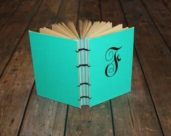 custom wedding guest book, monogram, initials, personalized, bridal gift, bridesmaids, guestbook, handmade journal, diary, travel, sketch