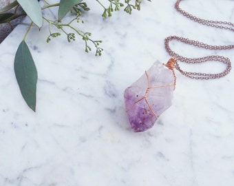 Raw Amethyst Point Pendant / Crystal Necklace / Wire Wrapped Purple Mineral Stone