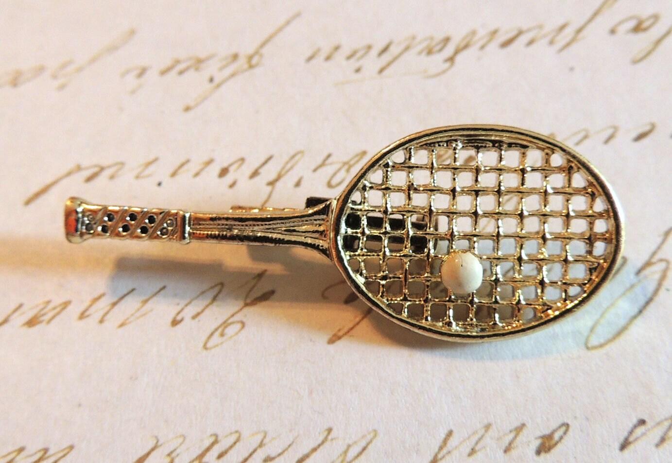 gerrys brooch pin tennis racquet vintage jewelry by