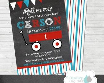 Wagon 1st Birthday Invitation Chalkboard Boy Girl Invite Digital YOU PRINT DIY printable Custom First Red Blue