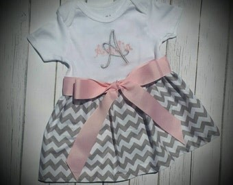 Grey Chevron dress, Monogramed, Girls Dress, Dress with pink bow, personalized