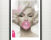 Marilyn Monroe pop art / mixed media original artwork, watercolor. Art print. A3
