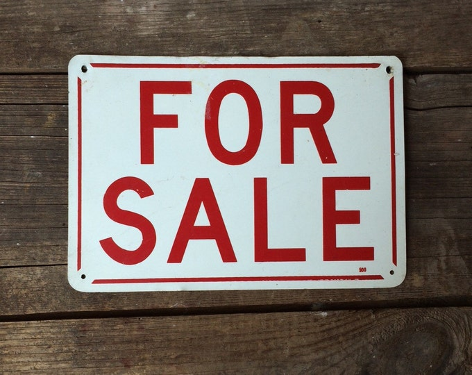 Vintage Metal For Sale Sign Red White Industrial Decor