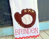 Custom Monogram Baseball Burp Rag Cloth Diaper for Infant Baby Applique