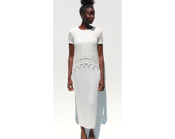 1930s style accordion pleat and lace midi dress wedding 1990s 90s VINTAGE