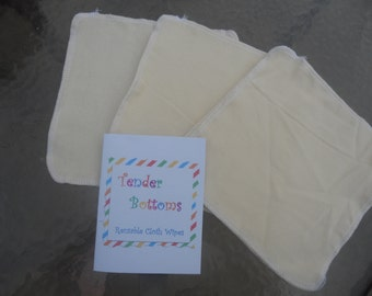 """30 Ct 1 Ply Tender Bottoms Baby Wipes 8"""" Square"""