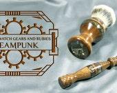 Steampunk victorian Men's Double Edge Safety razor shaving kit brush silvertip badger hair  birthday father Personalized  CUSTOM ORDER