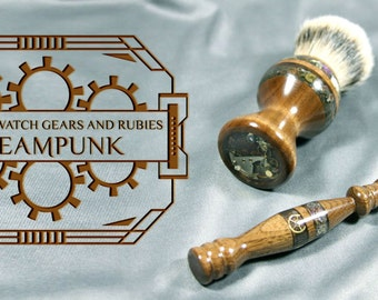 Steampunk victorian Men's Double Edge Safety razor shaving kit brush silvertip badger hair  birthday father Personalized  CUSTOM ORDER