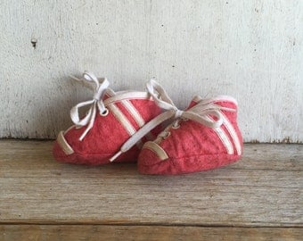 Vintage Baby Shoes // Red Felt // Baby Boy // Football