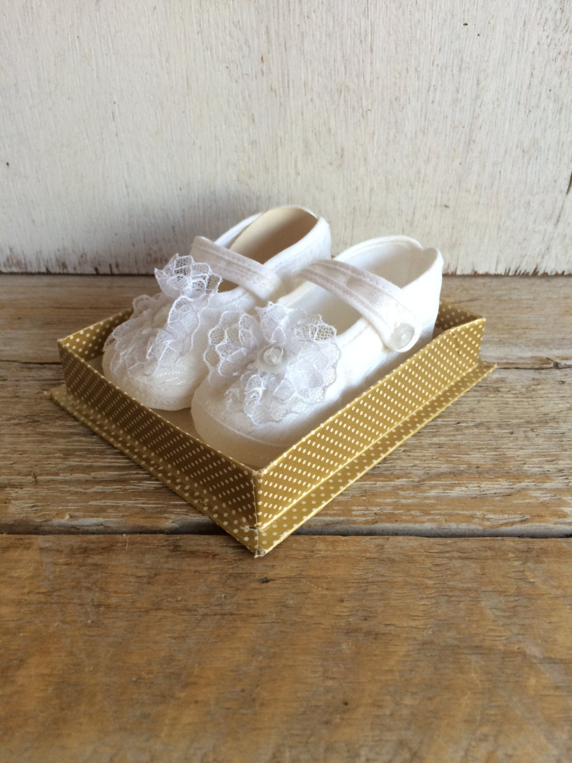 Vintage Baby Girl Shoes Christening Shoes White Size