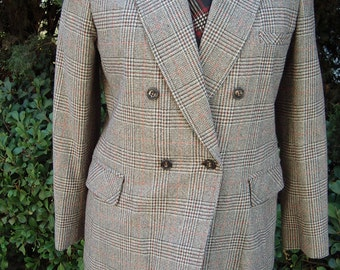 Late 1970s YSL Inspired Menswear Style Double Breasted Glen Plaid Wool Trouser Suit Item #734