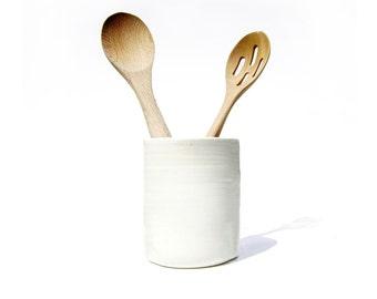 Large White Ceramic Utensil Holder