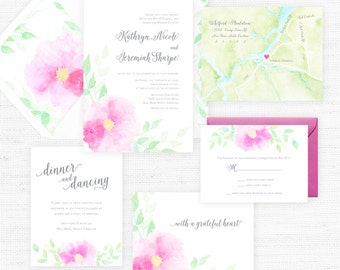 The Kathryn Collection | Sample Wedding Invitation | Hand-Painted Watercolor Wedding Invitations