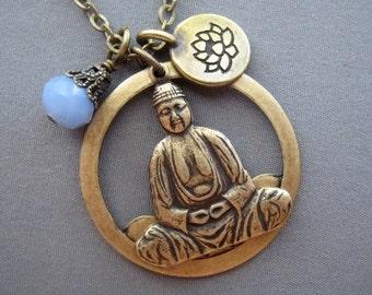 Buddha Necklace - Buddha Jewelry - Lotus Necklace - Yoga Jewelry - Spiritual Jewelry - Buddhist Jewelry - Mindful Gifts - Om Jewelry