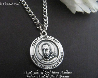 Men's/Boy's Stainless Steel Necklace - Saint John of God - Healer of Heart Disease - Patron Saint