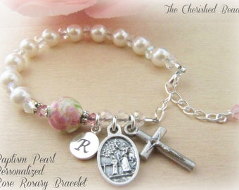 Baptism Personalized Rosary Bracelet with Swarovski White Pearls, Porcelain Rose and Swarovski Crystals - Monogrammed - Sterling