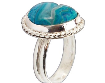 Druzy Chrysocolla and Sterling Silver Ring, Size 6  r6chrg2590