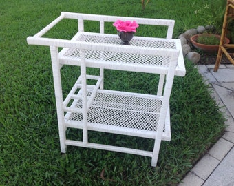 RATTAN BAR CART / Crespi Style Rattan Wicker Cart / Tea Cart on Wheels / Hollywood Regency / Beach House Cottage Style at Retro Daisy Girl