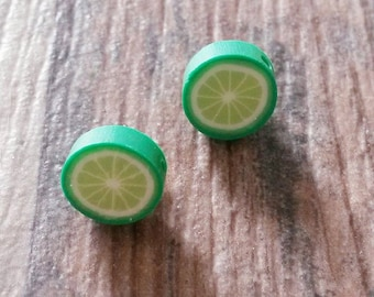 Earrings lime fimo with stainless stud