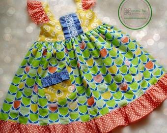 Girls Summer Dress,Girls Easter Dress,Girl Dress,Tulips,Toddler Dress,Ellie Dress,Yellow,Blue,Orange,Sizes 12MO,18MO,2T,3T,4T, 5T,6,7,8