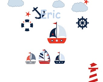 Nautical Sailboat Nursery Wall Art Patterned Flag with lighthouse Vinyl Wall Decal Set red blue