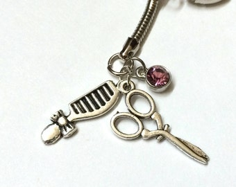 Hair Stylist Themed Keychain with three charms, hair dresser custom gem color available