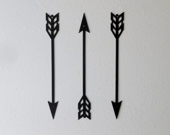 Arrow Wall Decor, Metal Art, Set of Three, Home Decor, American Indian, Metal Arrow Decor, Native American, Archery, Several sizes