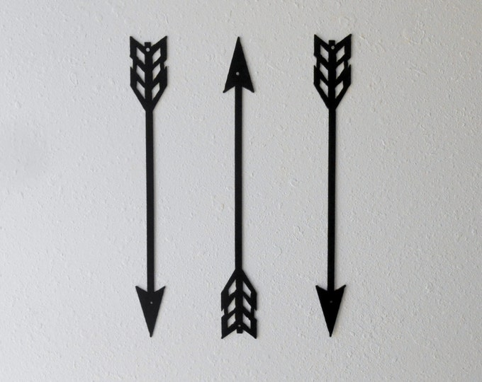 Large Arrow Wall Decor, Metal Art, Set of Three, Home Decor, Metal Arrow Decor, Archery, Several sizes