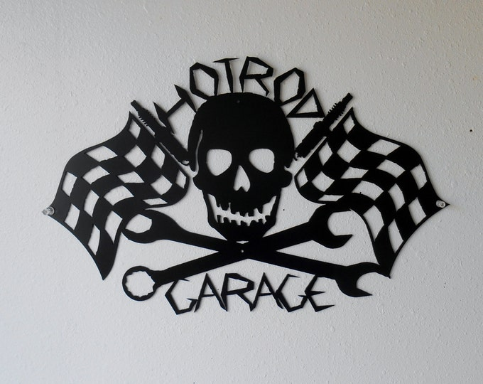 Hot Rod Garage Skull Racing Checkered Flags