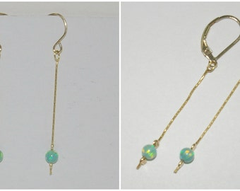 14kt Gold Filled Dangle Earrings with 4mm Opal Beads, Wire Hooks or Leverback. Blue, Green, White, Pink. Handmade - Free Shipping Worldwide.