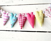 Bright 9 Heart Fabric Garland