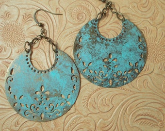 Gypsy Cowgirl Earrings - Antiqued Brass Crescents with a Virdigris Finish