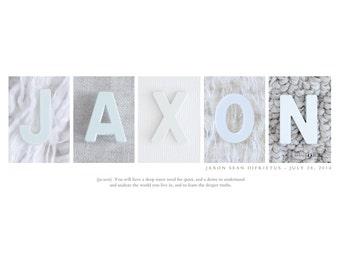 Baby Boy Name Print - Alphabet Letter Photos, Custom Name Print, Modern Baby Decor, Personalized Name Art Print, Boy Nursery Art
