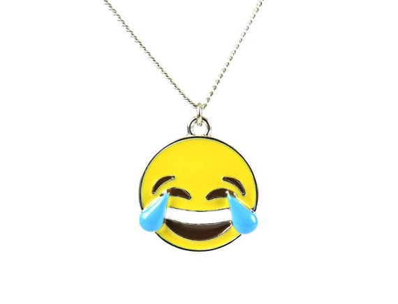 Laughing With Tears Enamel Emoji Face Charm Necklace