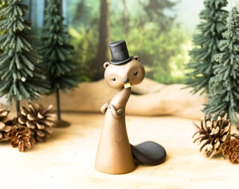 Beaver in a Top Hat - Victorian Beaver Figurine by Bonjour Poupette