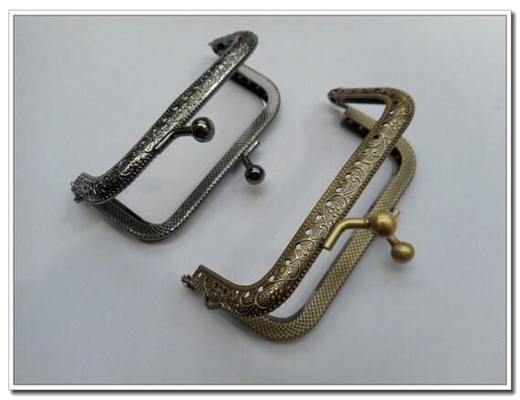 2pcs 9cm  rectangle sewing coin purse frame change purse frame 1pcs gunmetal 1pcs antique brass