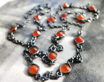 SHOP SALE Gemstone Necklace / Carnelian Gemstone Necklace / Autumn Accessories / Sterling Silver Oxidized Necklace / Anniversary Gift