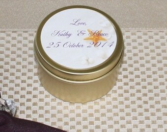 Wedding-Special Event- Shower Favor- Customized Label-  Scented Soy Candles 6 oz. Travel Tin