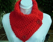 READY To SHIP Neck Warmer Scarf Buttoned Cowl Solid Bright Vibrant Red with Red Buttons, OOAK Extra Soft Crochet Knit Winter Scarflette