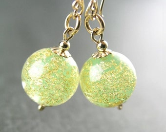 Gold Peridot Earrings Authentic 24k Gold Foil Venetian Murano Glass Earrings 14k Gold Fill Peridot Dangle Earrings August Birthstone