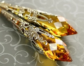 Swarovski Crystal Topaz Earrings Antique Gold Long Drop Earrings Gold Crystal Earrings Victorian Style Jewelry Icicle Amber Earrings